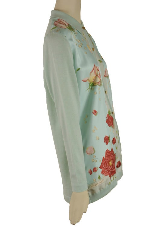 Hermes Mint Green and Floral Print Long Sleeve Top Size 38 3