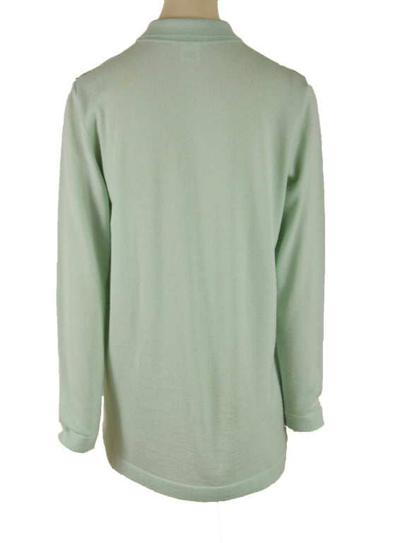 Hermes Mint Green and Floral Print Long Sleeve Top Size 38 4