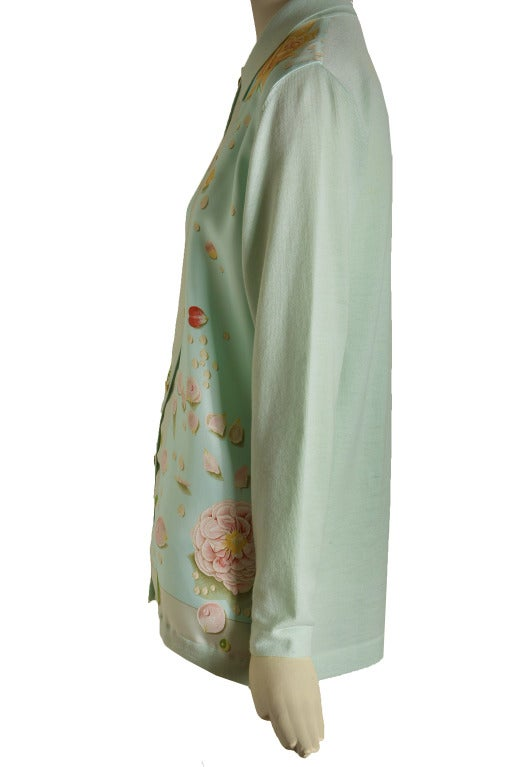 Hermes Mint Green and Floral Print Long Sleeve Top Size 38 5