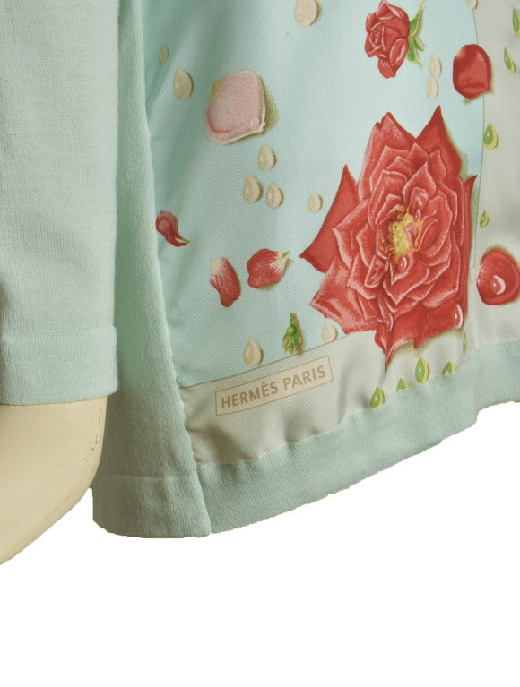 Hermes Mint Green and Floral Print Long Sleeve Top Size 38 6