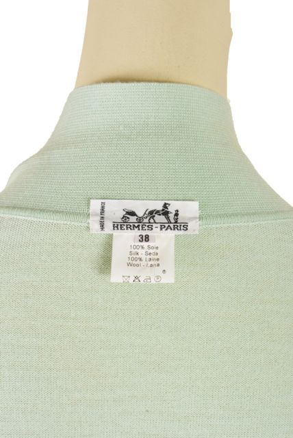 Hermes Mint Green and Floral Print Long Sleeve Top Size 38 7