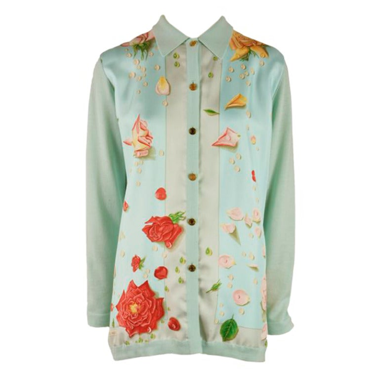 Hermes Mint Green and Floral Print Long Sleeve Top Size 38