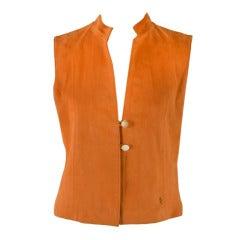 Cardon Cosas Nuestras Custom Made Orange Suede Vest Size 9