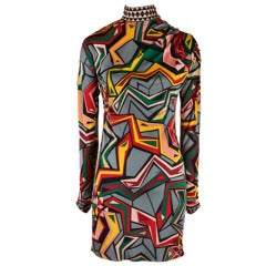 Emilio Pucci Mod Print Long Sleeve Dress Size 38