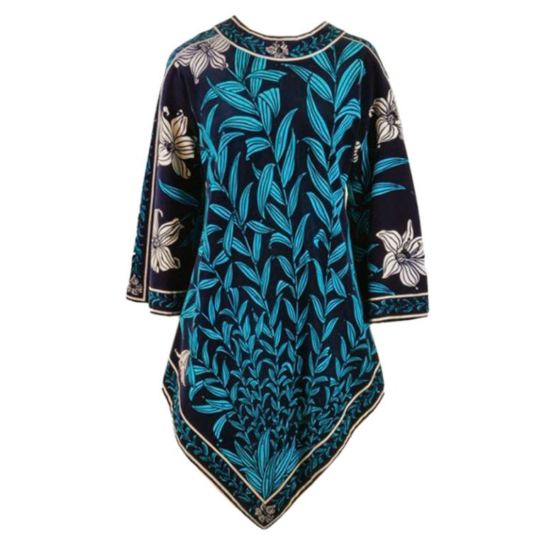 1970's Emilio Pucci Blue Floral Velvet Print Point Dress Tunic Size 10