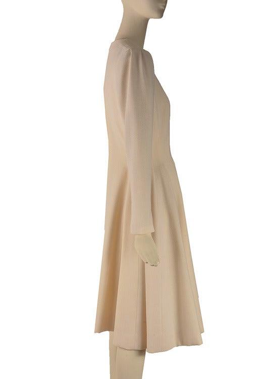 Women's 1960's Pauline Trigere Cream Fit & Flounce Dress For Sale