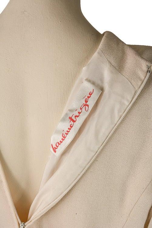 1960's Pauline Trigere Cream Fit & Flounce Dress For Sale 1