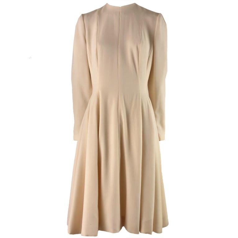 1960's Pauline Trigere Cream Fit & Flounce Dress For Sale