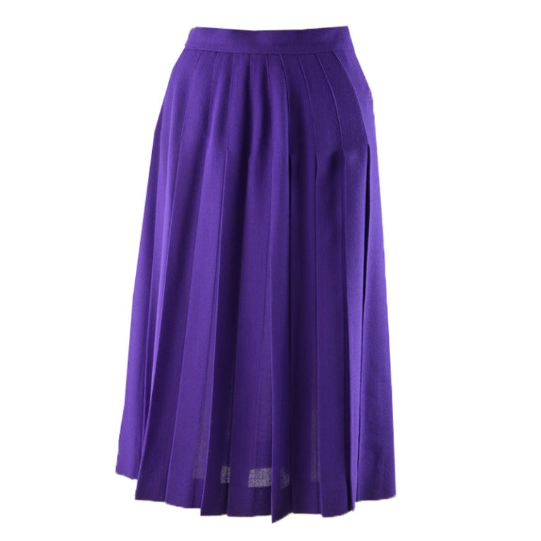 yves laurent purple pleated wool skirt size 38 at
