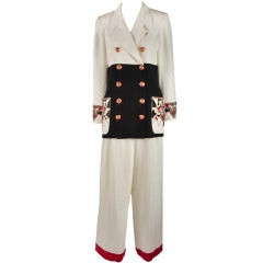 1980's Emanuel Ungaro White Black Red Beaded Two Piece Pants Suit Size 10/12