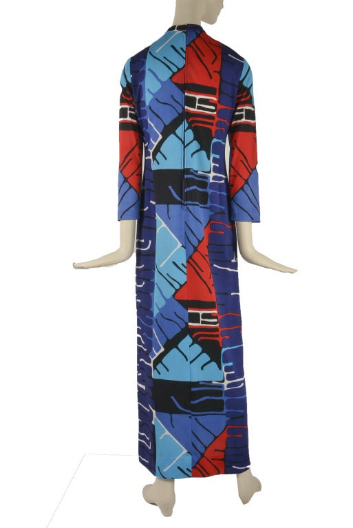 Blue 1960's Vintage Malcolm Starr Mod Print Long Sleeve Maxi Dress For Sale