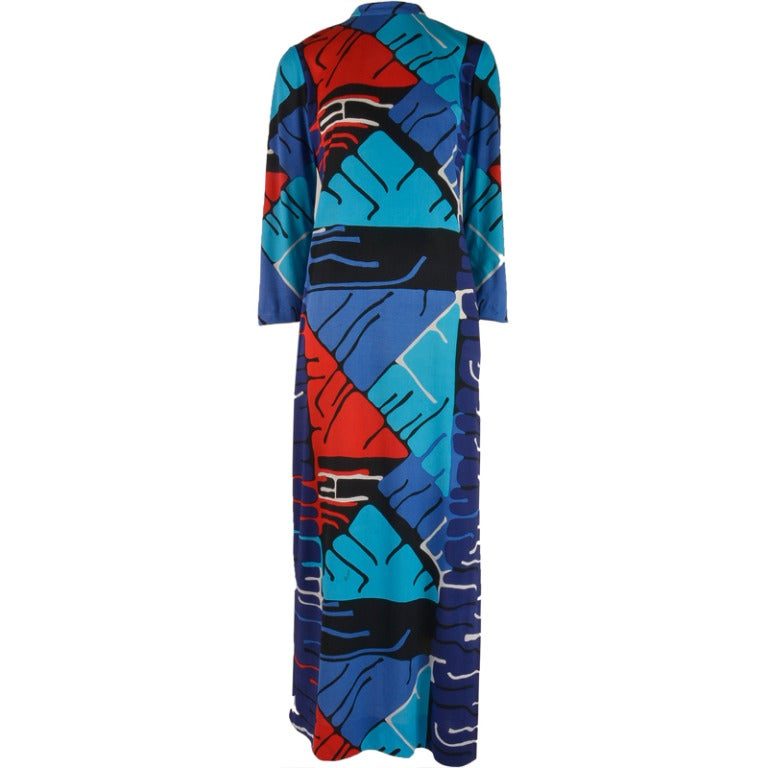 1960's Vintage Malcolm Starr Mod Print Long Sleeve Maxi Dress For Sale