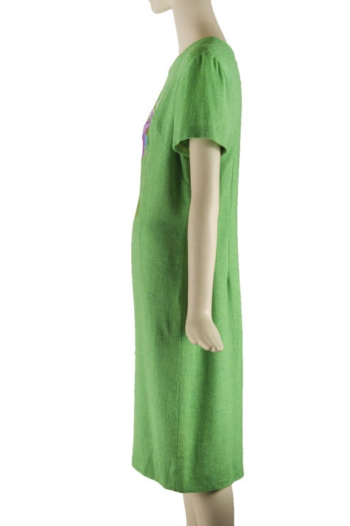 Vintage 60's Edith Flagg Green Floral Dress w/ Overcoat RARE 3