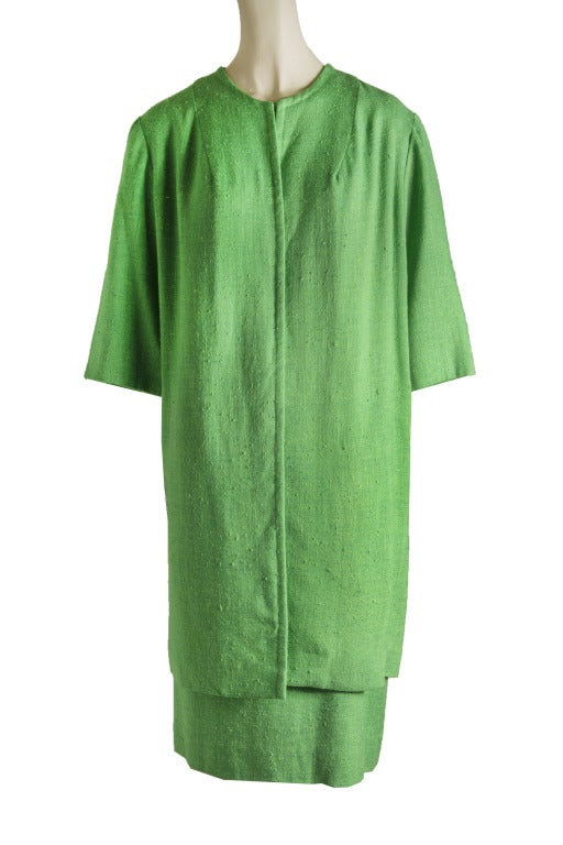 Vintage 60's Edith Flagg Green Floral Dress w/ Overcoat RARE 4