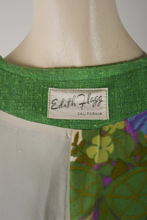 Vintage 60's Edith Flagg Green Floral Dress w/ Overcoat RARE 6