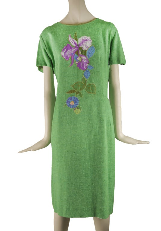 Vintage 60's Edith Flagg Green Floral Dress w/ Overcoat RARE 5