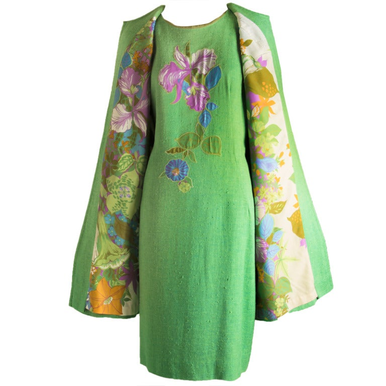 Vintage 60's Edith Flagg Green Floral Dress w/ Overcoat RARE 1