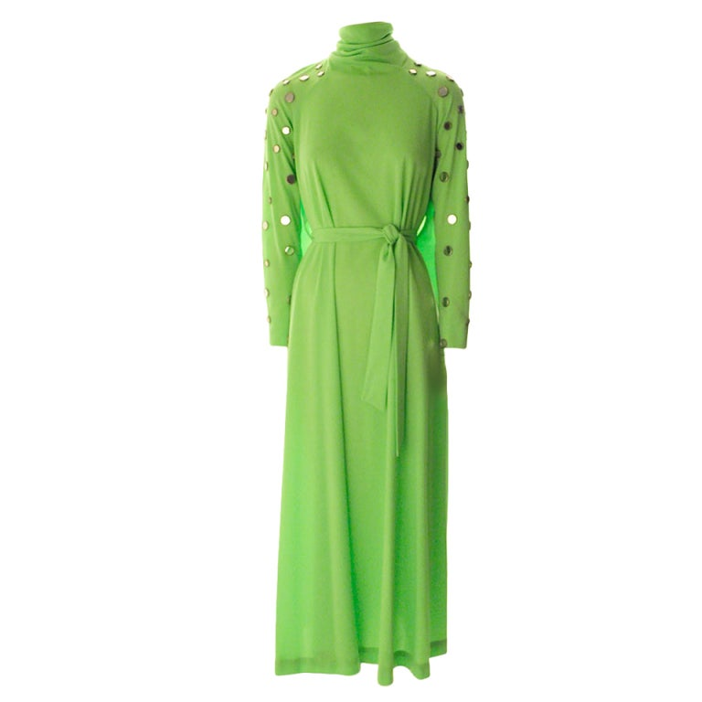 Long Mirror Dress-Lime Green For Sale at 1stdibs