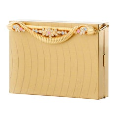 Minaudière Clutch-Gold With Black Faille Frame