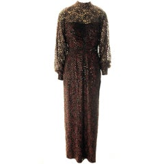 Mollie Parnis Boutique-Burgundy Sequin Gown