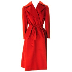 Red Pauline Trigere Satin Evening Coat