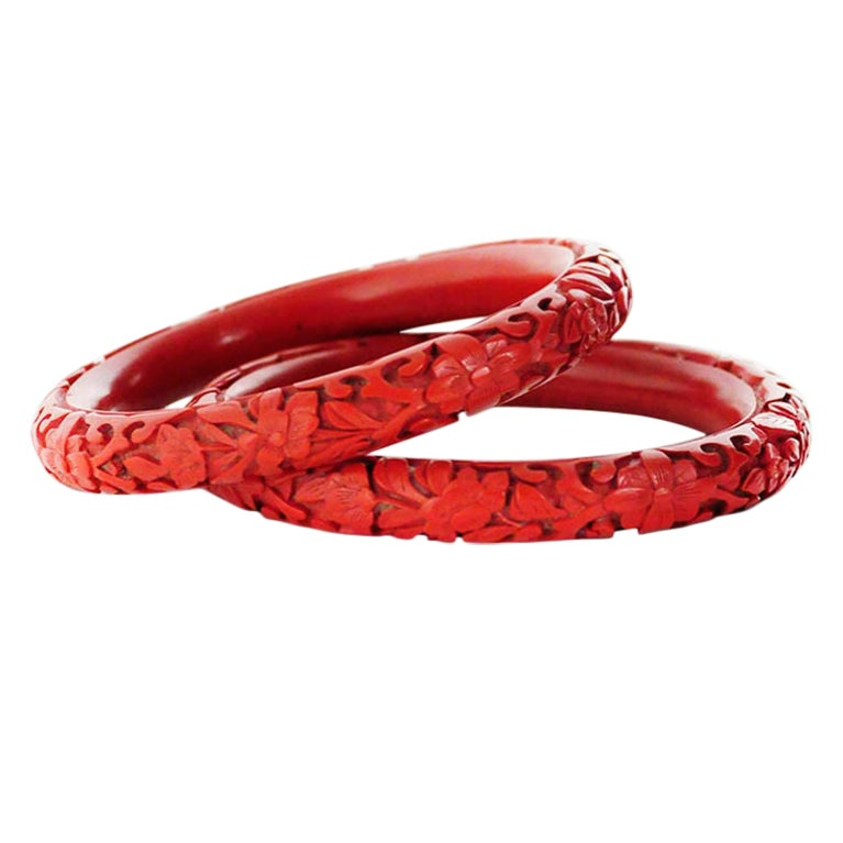 Vintage Hand Carved Red Cinnabar Bangle Bracelets