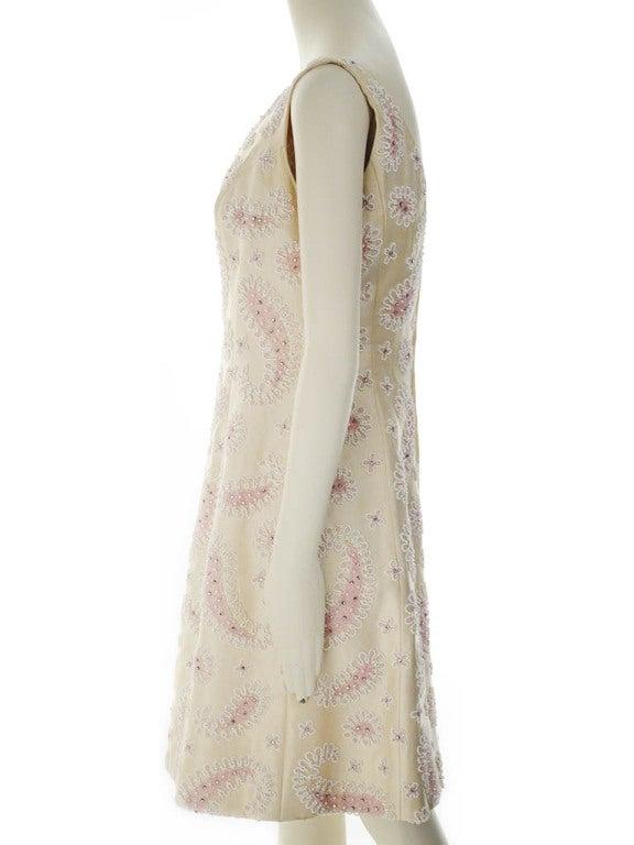 Beige Vintage Victoria Royal Ltd. Beaded Cocktail Dress For Sale