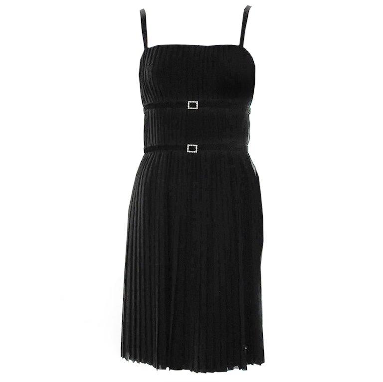 Vintage  Akris Black Pleated Cocktail Dress Mint