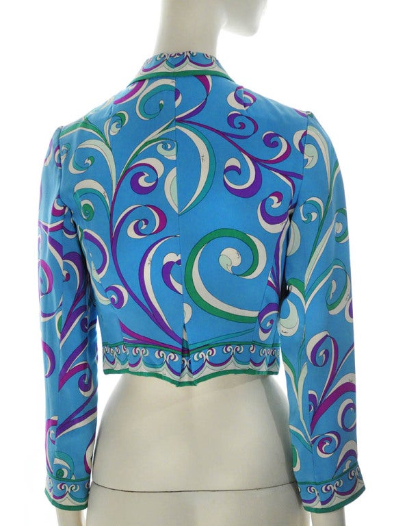 Vintage Emilio Pucci Teal Silk Bolero Jacket In Good Condition For Sale In Boca Raton, FL