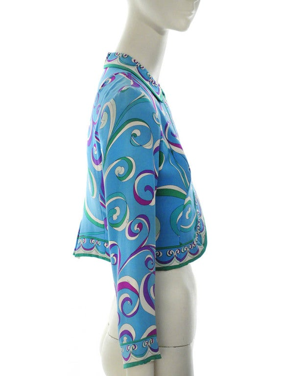 Women's Vintage Emilio Pucci Teal Silk Bolero Jacket For Sale
