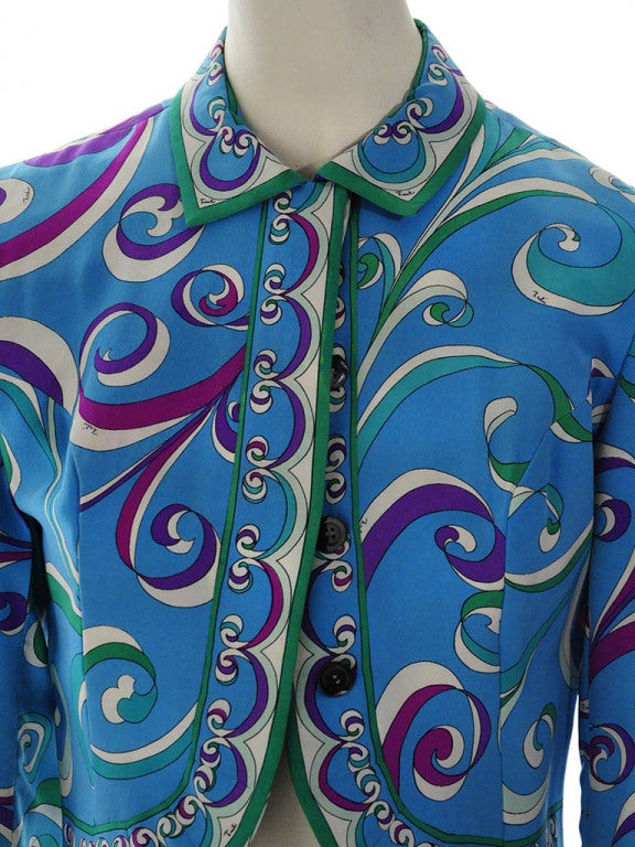 Vintage Emilio Pucci Teal Silk Bolero Jacket For Sale 2