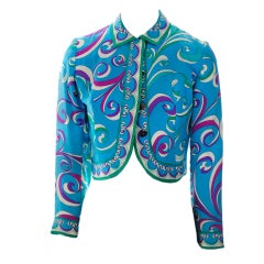 Vintage Emilio Pucci Teal Silk Bolero Jacket