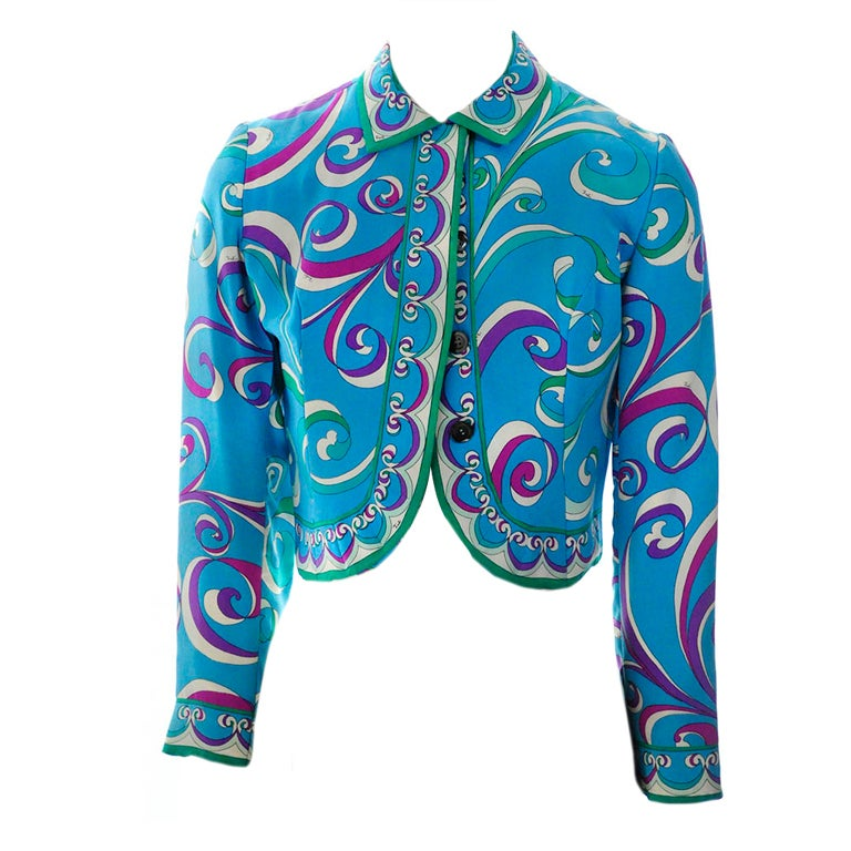 Vintage Emilio Pucci Teal Silk Bolero Jacket For Sale