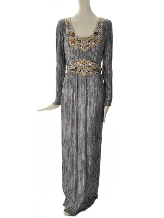 Vintage mary mcfadden couture beaded fortuny evening gown for Costume jewelry for evening gowns