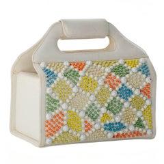 Vintage Judith Leiber Box Handbag with Pastel Stone Detail
