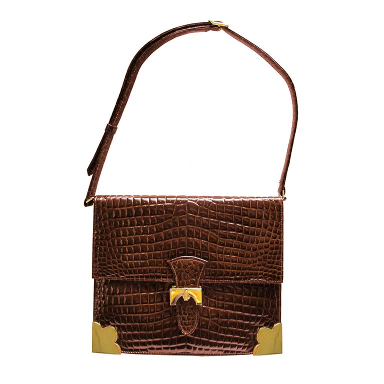 1960's Sacha Faux Crocodile Handbag 1
