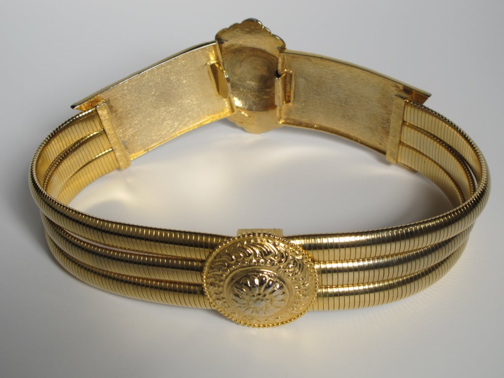 1980's Judith Leiber Etruscan-Style Gold Tone Stretch Belt 2