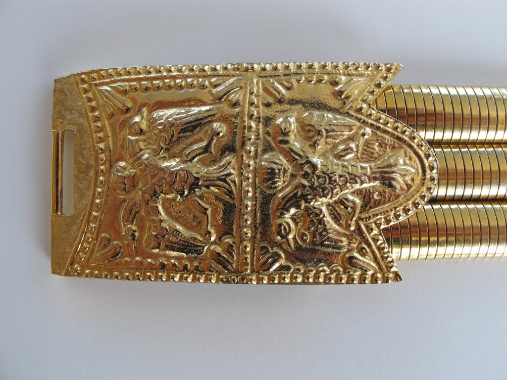 1980's Judith Leiber Etruscan-Style Gold Tone Stretch Belt 4