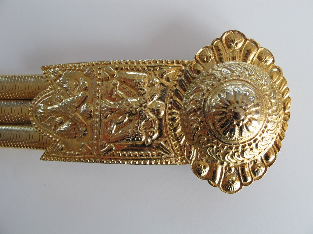 1980's Judith Leiber Etruscan-Style Gold Tone Stretch Belt 5