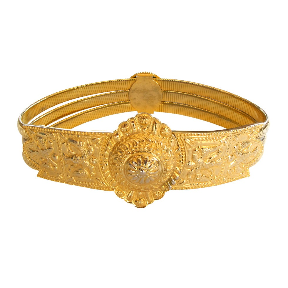 1980 S Judith Leiber Etruscan Style Gold Tone Stretch Belt