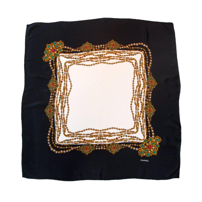 1980 s chanel silk jacquard scarf at 1stdibs