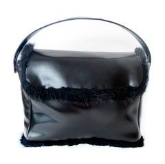Yohji Yamamoto Black Leather Handbag