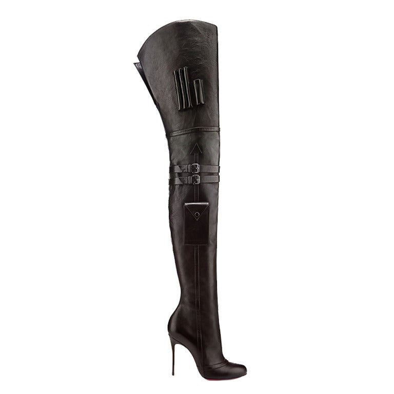 Louboutin Sea.nn Girl Black Leather Over The Knee Boots 1