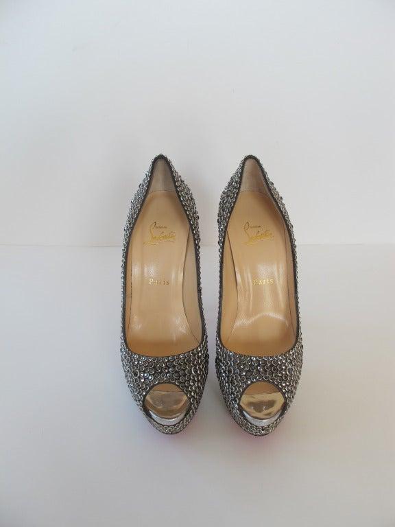New Christian Louboutin Hematite Swarovski Crystal Shoes 3