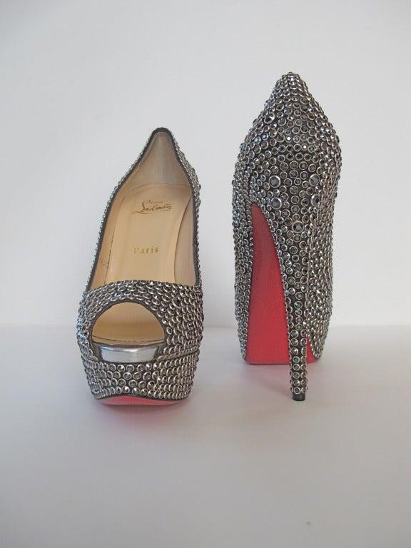 New Christian Louboutin Hematite Swarovski Crystal Shoes 4