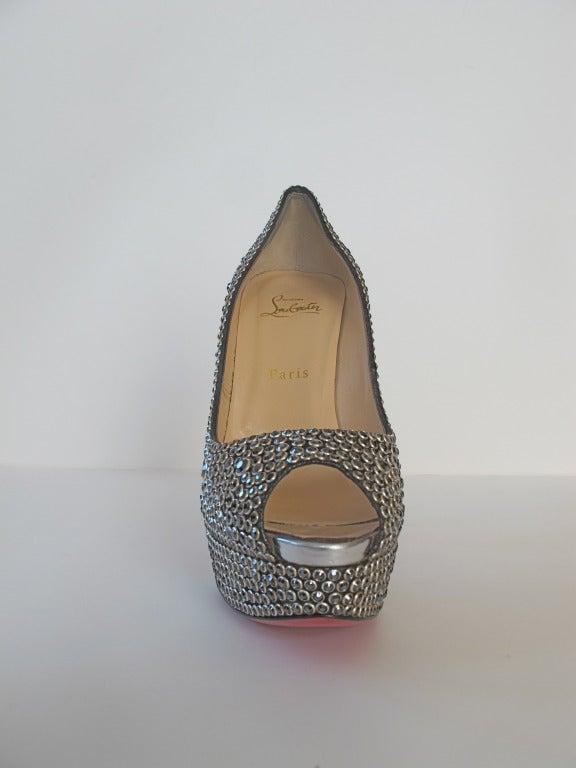 New Christian Louboutin Hematite Swarovski Crystal Shoes 7
