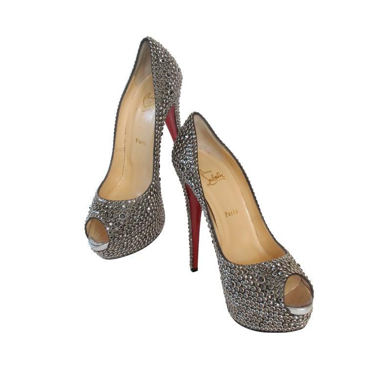 New Christian Louboutin Hematite Swarovski Crystal Shoes 1