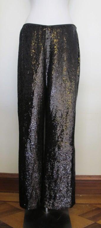 Carolina Herrera Rich Brown Sequin Evening Pants 2