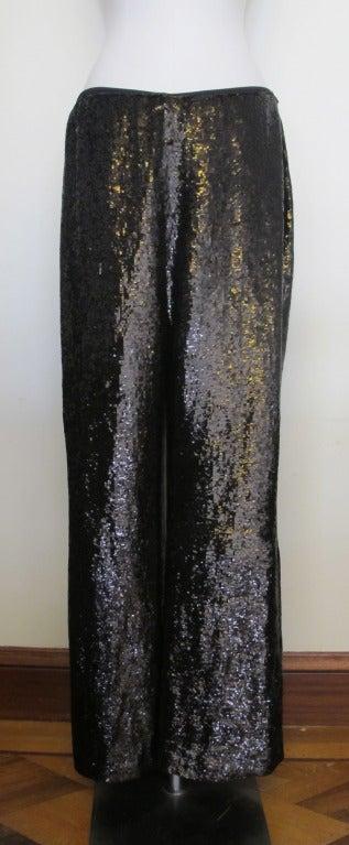 Carolina Herrera Rich Brown Sequin Evening Pants 3