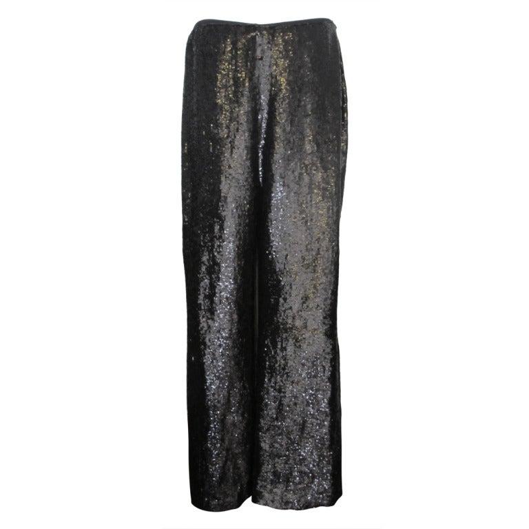 Carolina Herrera Rich Brown Sequin Evening Pants 1